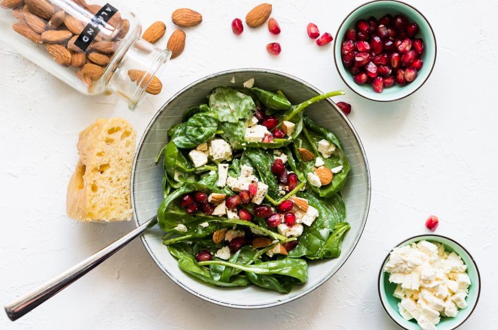 Spinach, Feta, Pomegranate and Almond Salad