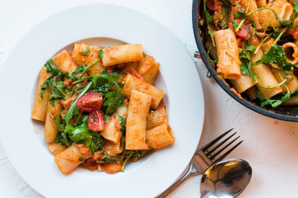 Rigatoni à la Roquette et aux Tomates Cerises