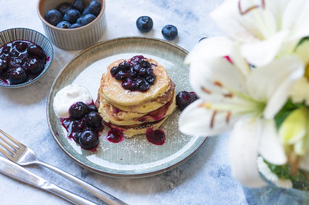 Blueberry and Greek Yogurt Pancakes