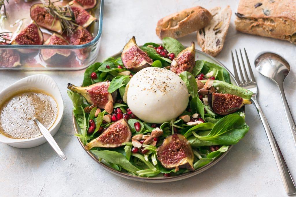 Salade aux Figues rôties et à la Burrata