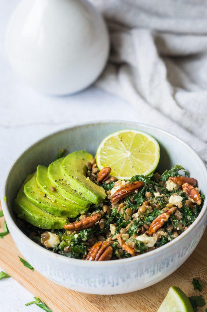 Lentilles au Chou Kale, Feta et Avocat