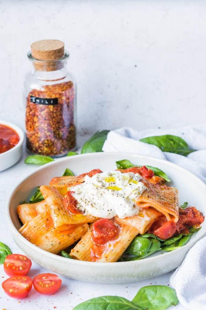 Rigatoni à la Tomate et Burrata