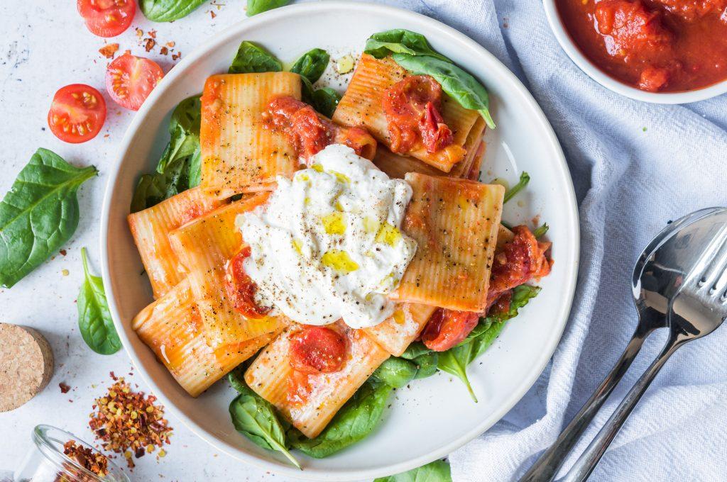 Tomato and Burrata Rigatoni