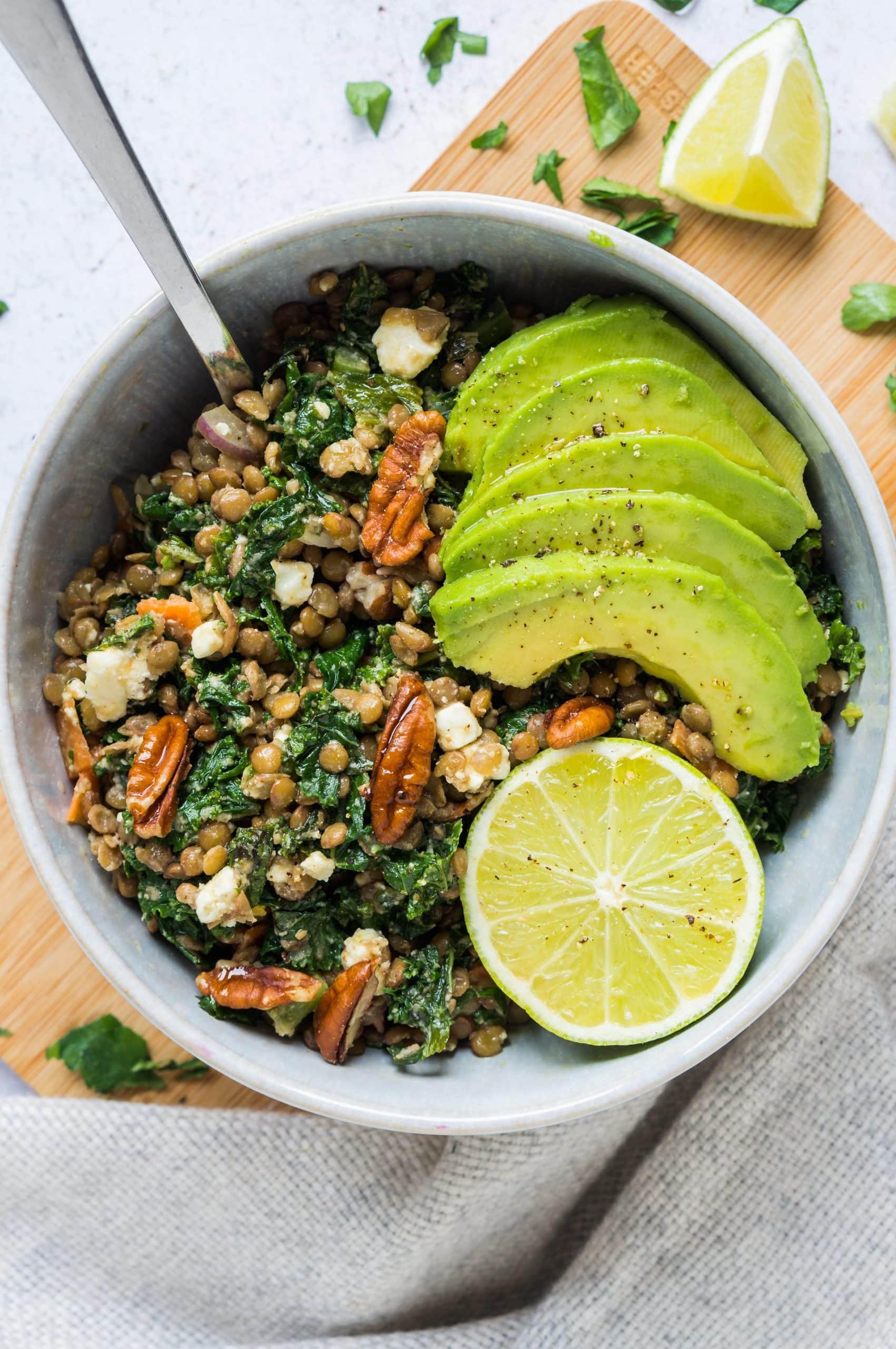 Lentils with Kale, Feta and Avocado