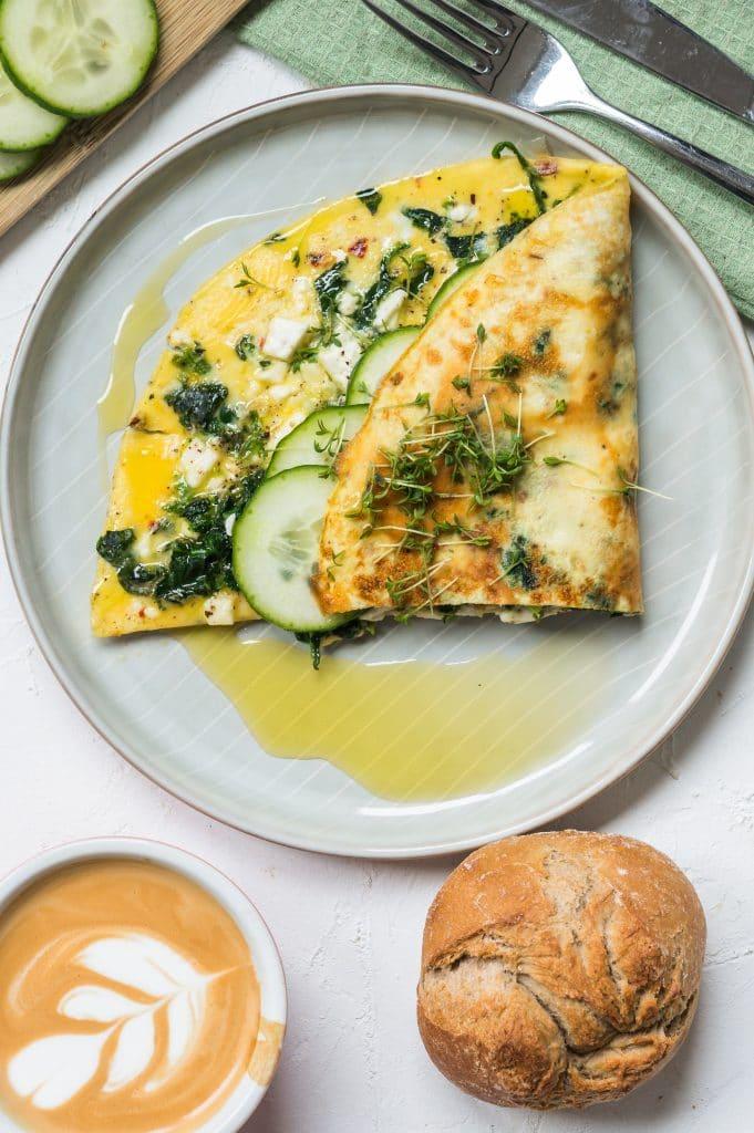 Omelette aux Épinards et à la Feta