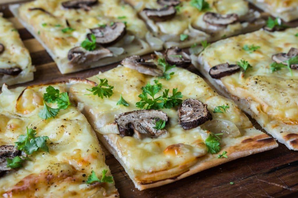 Mushroom and Raclette Flammkuchen