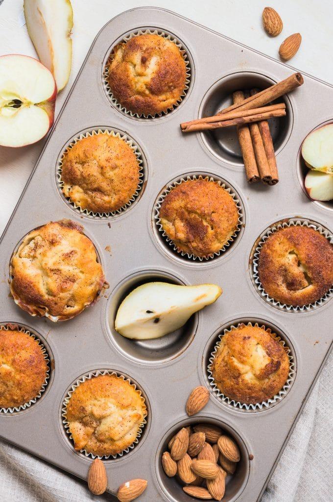 Muffins moelleux Pommes, Poires et Amandes