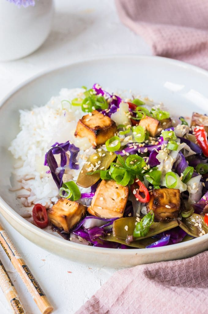 Stir-Fry Pointed Red Cabbage with Grilled Tofu