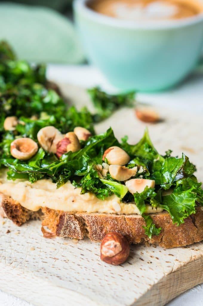 Healthy Hummus and Kale Tartine