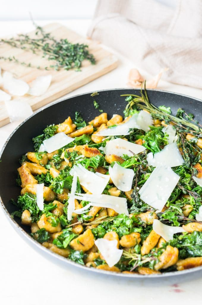 Sweet Potato Gnocchi with Kale and Parmesan