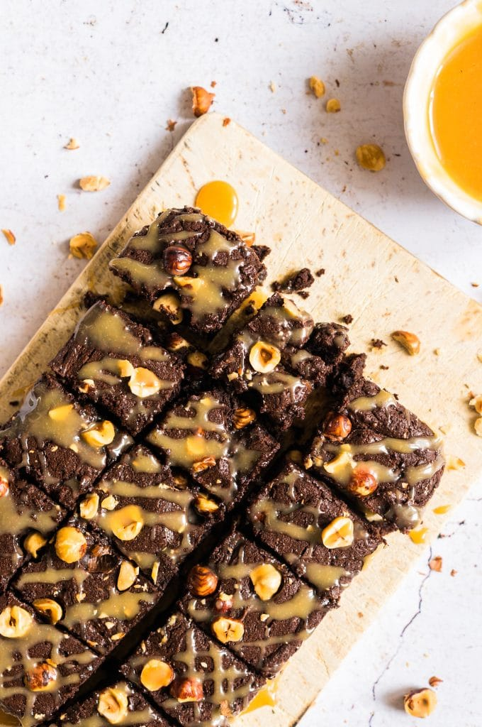 Brownie with Hazelnuts and Salted Butter Caramel