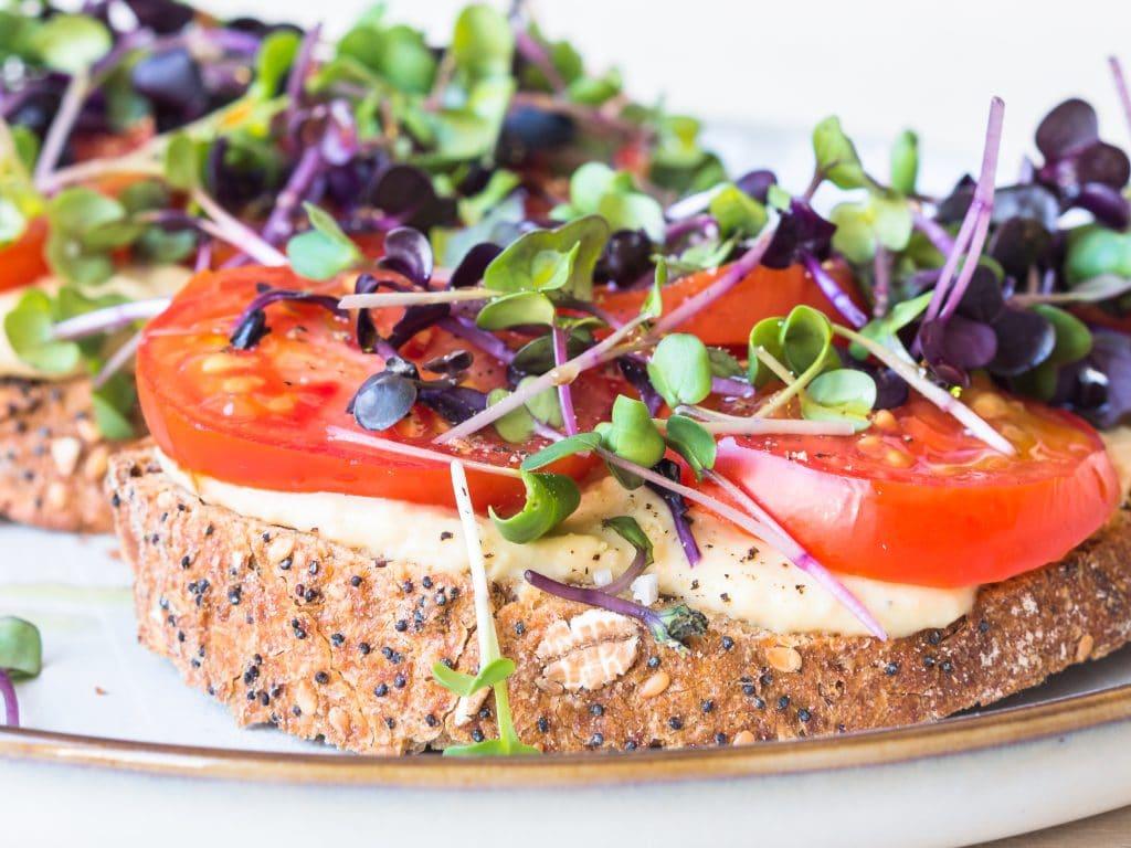 Tartine with Hummus, Tomatoes and Microgreens