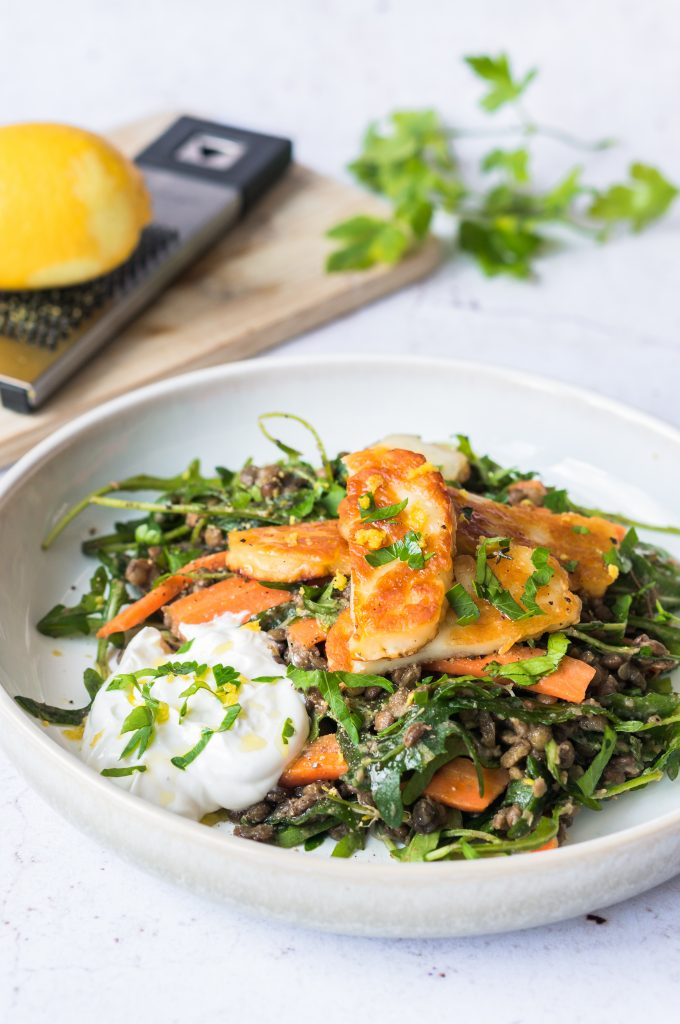 Lentil Salad with Lemon and Halloumi