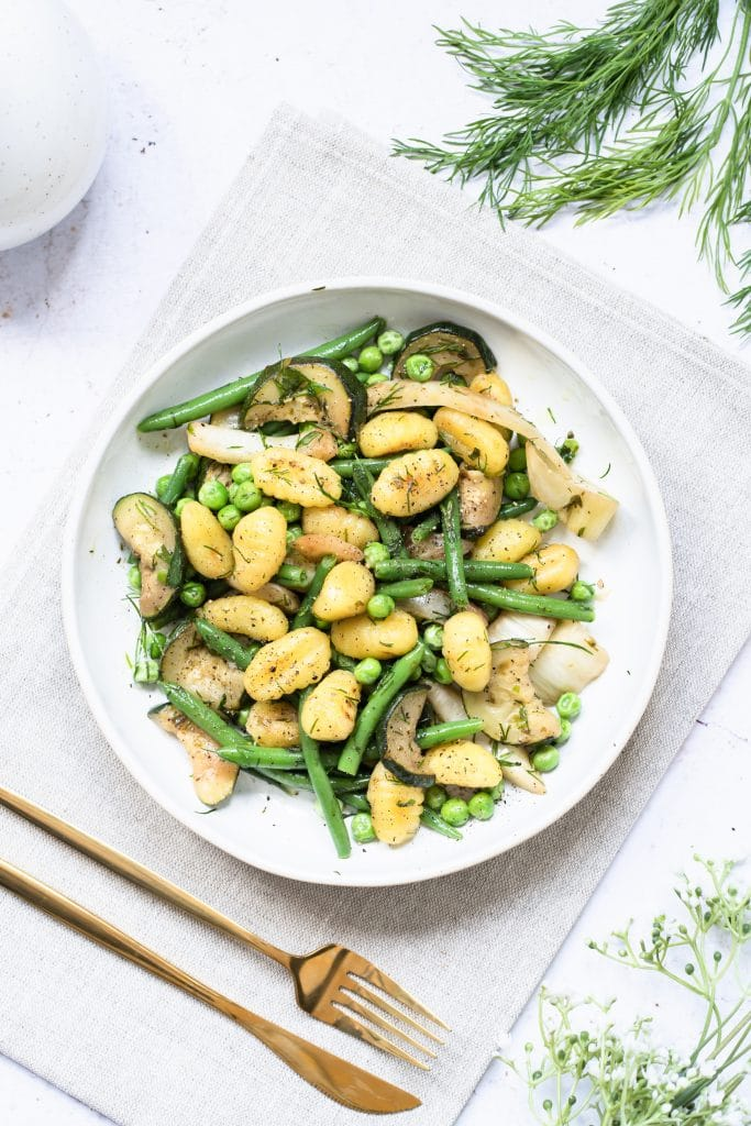 Pan Fried Gnocchi with Green Vegetables