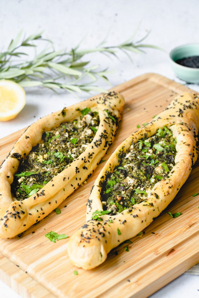 Vegetarian Pide with Spinach, Mint and Feta