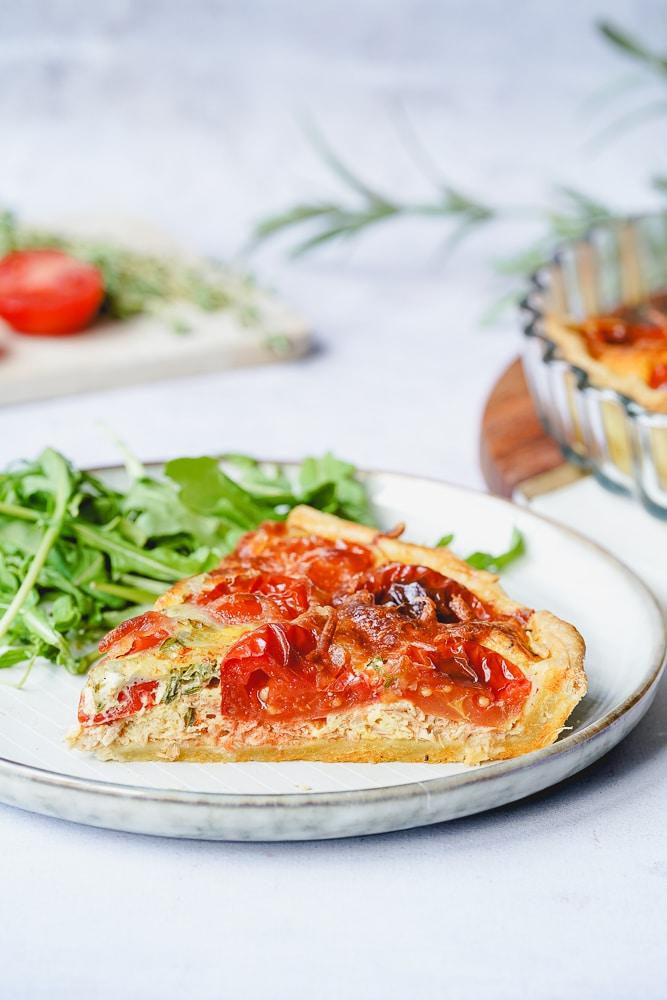 Quiche mit Thunfisch, Tomaten und Senf