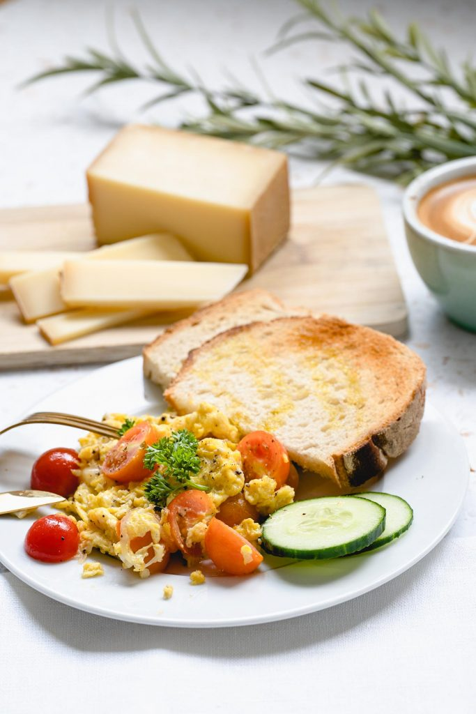Scrambled Eggs with Comté and Cherry Tomatoes