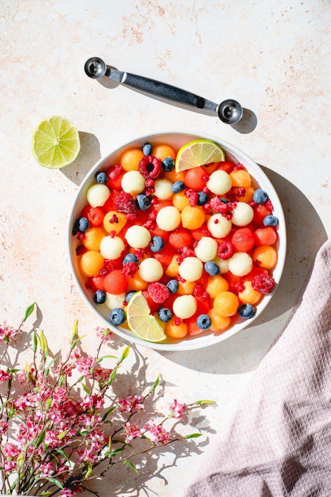 Salade de Billes de Melons et Citron Vert